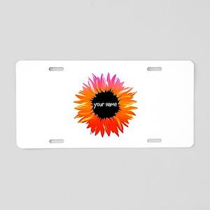Pink-Orange Flower Aluminum License Plate