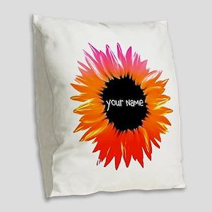 Pink-Orange Flower Burlap Throw Pillow