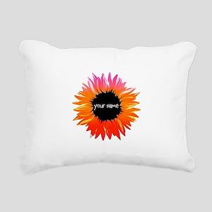 Pink-Orange Flower Rectangular Canvas Pillow
