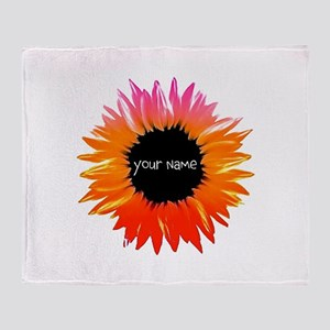 Pink-Orange Flower Throw Blanket