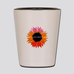 Pink-Orange Flower Shot Glass