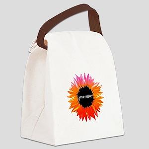 Pink-Orange Flower Canvas Lunch Bag