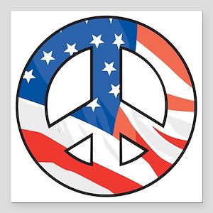 "Peace flag Square Car Magnet 3"" x 3"""