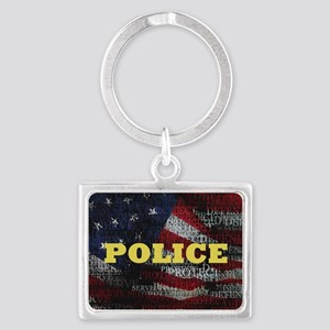 PoliceFlag Landscape Keychain