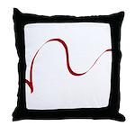 Red on White Ribbon Throw Pillow