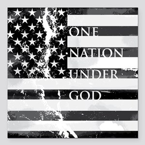 "one nation gray Square Car Magnet 3"" x 3"""