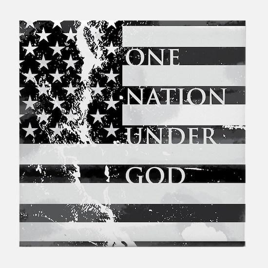 one nation gray Tile Coaster