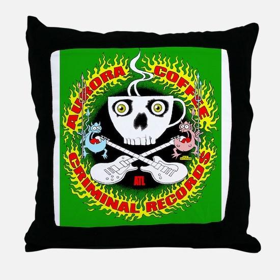 Aurora Criminal-green shirt copy Throw Pillow