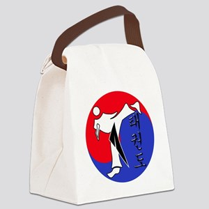 Vertical Hangeul TKD (plastic) in Canvas Lunch Bag