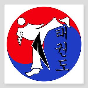 "Vertical Hangeul TKD (pl Square Car Magnet 3"" x 3"""