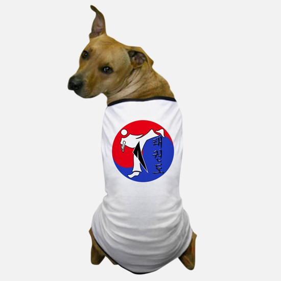 Vertical Hangeul TKD (plastic) inside  Dog T-Shirt