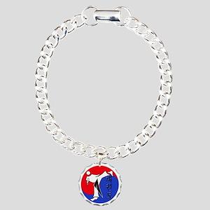 Vertical Hangeul TKD (pl Charm Bracelet, One Charm