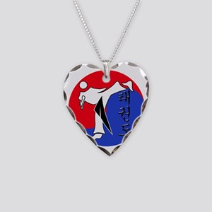 Vertical Hangeul TKD (plastic Necklace Heart Charm