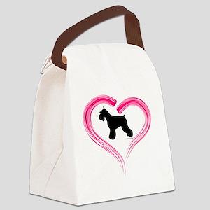 CE Schnauzer Heart Canvas Lunch Bag