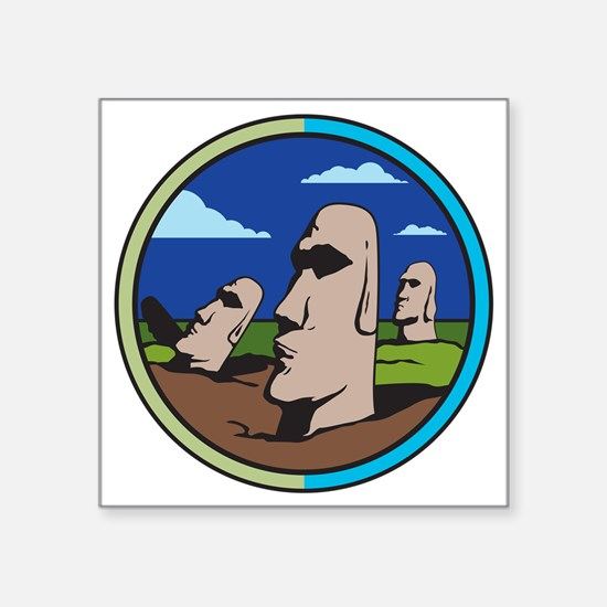 "Easter island Square Sticker 3"" x 3"""
