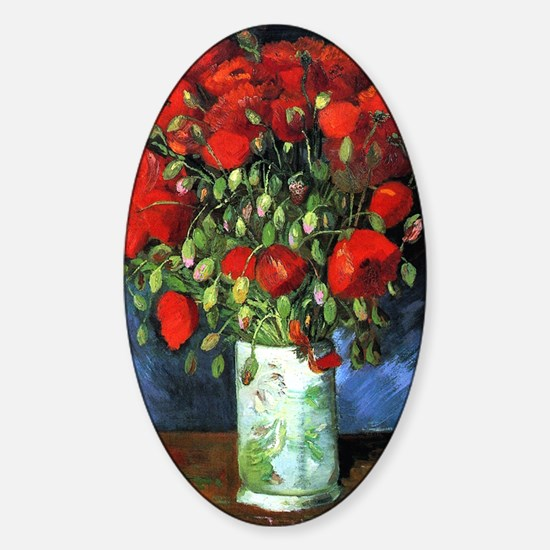Red Poppies -PC Sticker (Oval)