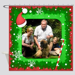 Personalizable Christmas Photo Frame Shower Curtai
