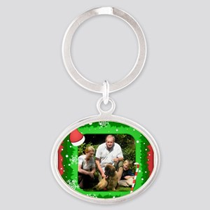 Personalizable Christmas Photo Frame Oval Keychain