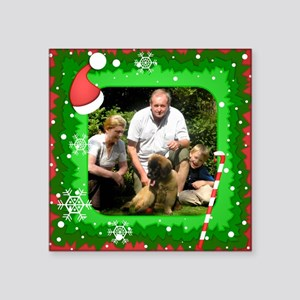 Personalizable Christmas Photo Frame Square Sticke