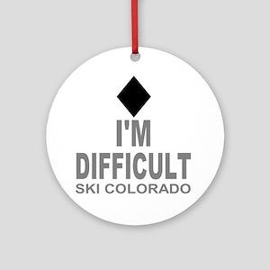 Difficult_Ski_Colorado Round Ornament