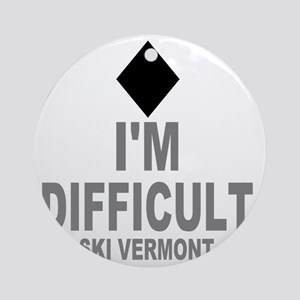 Difficult_Ski_VERMONT Round Ornament