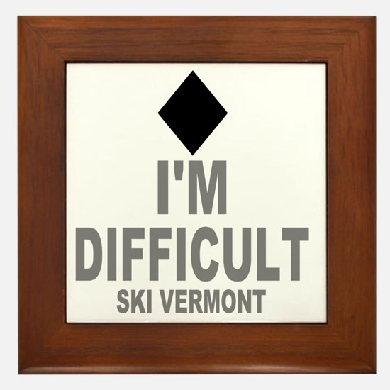 Difficult_Ski_VERMONT Framed Tile