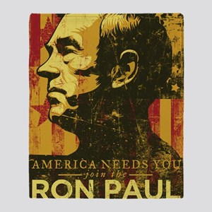 Ron Paul Distressed Poster 2009 Throw Blanket