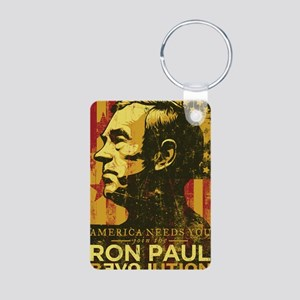 Ron Paul Distressed Poster Aluminum Photo Keychain