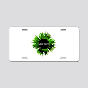Green Flower Aluminum License Plate