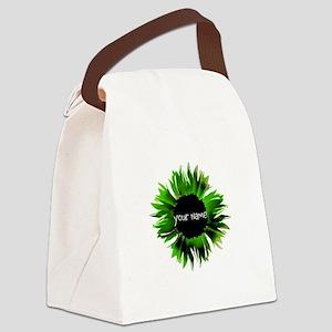 Green Flower Canvas Lunch Bag