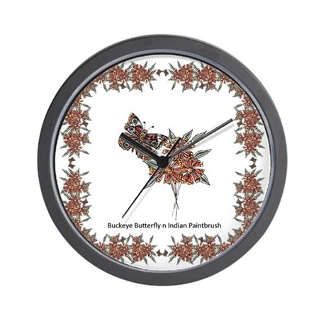 Buckeye Butterfly n Indian Paintbrush2 Wall Clock