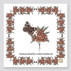 "Buckeye Butterfly n Indi Square Car Magnet 3"" x 3"""