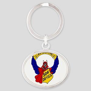 504thPIR Pocket - white Oval Keychain