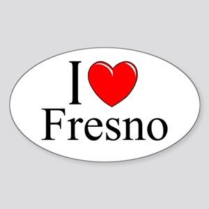 """I Love Fresno"" Oval Sticker"
