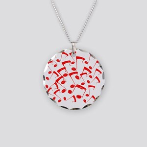 MUSICAL NOTES RED III Necklace Circle Charm