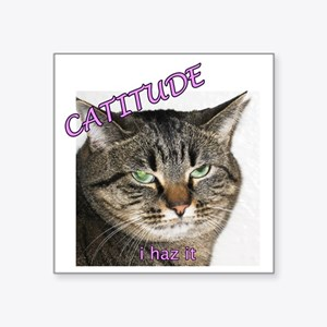 "Catitude 2 10x10 Square Sticker 3"" x 3"""