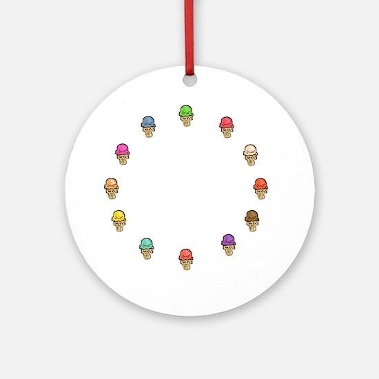 ice cream circle Round Ornament