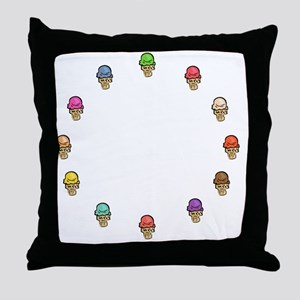 ice cream circle Throw Pillow