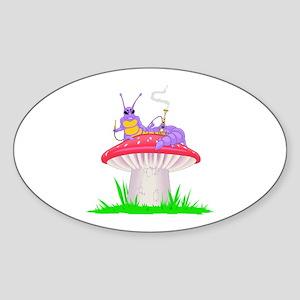 Caterpillar on Mushroom Oval Sticker