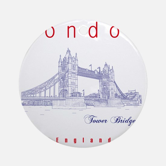 London_10x10_TowerBridge_BlueRed Round Ornament