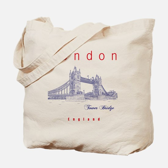 London_10x10_TowerBridge_BlueRed Tote Bag