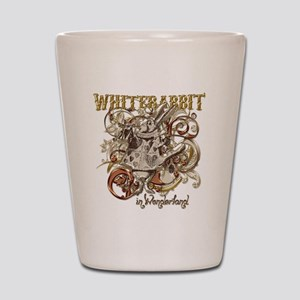 whiterabbit-flourishes-gold Shot Glass