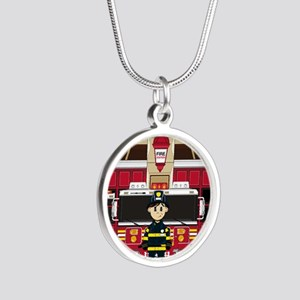 Fireman Pad19 Silver Round Necklace