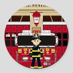 Fireman Pad19 Round Car Magnet