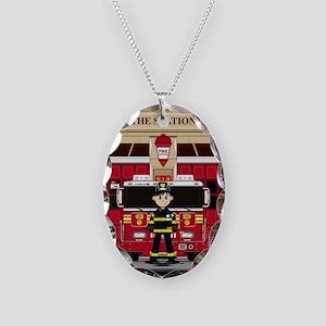Fireman Pad19 Necklace Oval Charm