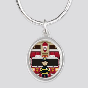 Fireman Pad19 Silver Oval Necklace
