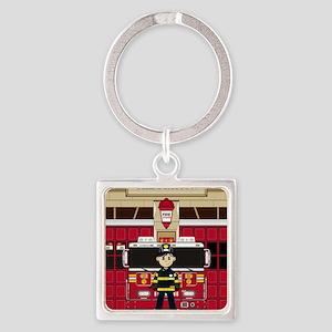 Fireman Pad19 Square Keychain