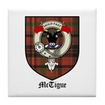 McTigue Clan Crest Tartan Tile Coaster