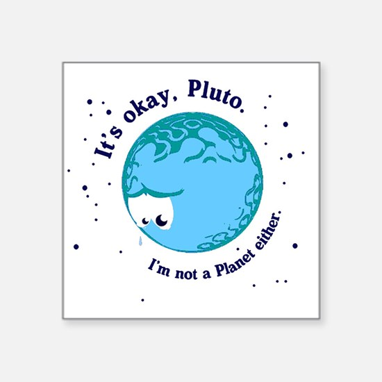 "pluto long Square Sticker 3"" x 3"""