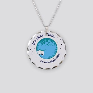 pluto long Necklace Circle Charm